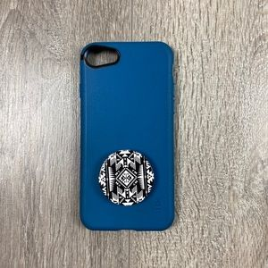 Silk iPhone 7 Phone Case Teal With Pop Socket